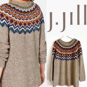 J. Jill Fair Isle Cotton Tunic Sweater sz XL